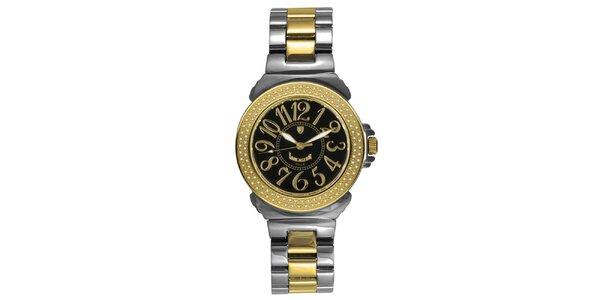 Dámské ocelové hodinky s diamanty a tmavým ciferníkem Lancaster