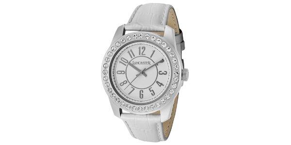 Dámské hodinky s kamínky a bílým páskem Lancaster