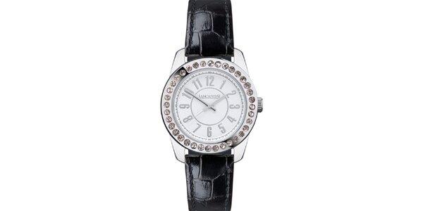 Dámské hodinky s kamínky a černým páskem Lancaster