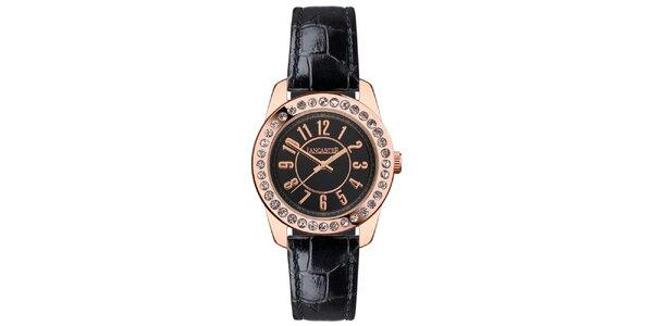 Dámské hodinky s kamínky, černým páskem a s pouzdrem v barvě růžového zlata…