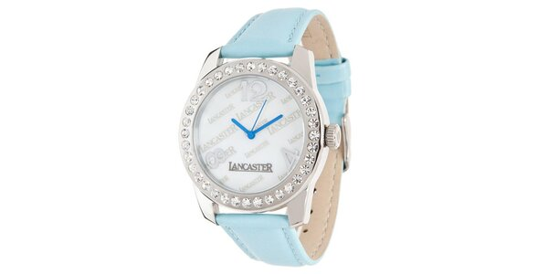 Dámské hodinky se světle modrým páskem a kamínky Lancaster