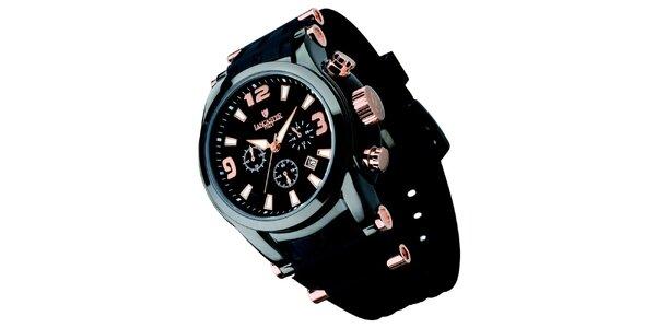 Pánské černé hodinky s chronografem Lancaster