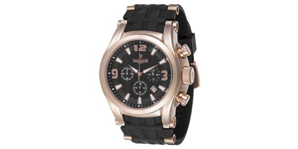 Pánské hodinky s chronografem a pouzdrem v barvě růžového zlata Lancaster