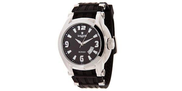 Pánské stříbrné hodinky s černým ciferníkem Lancaster