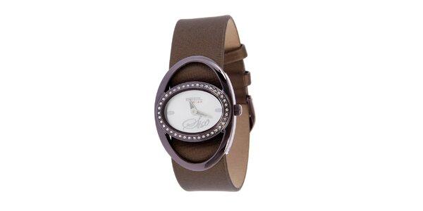Dámské fialovo-hnědé analogové hodinky Breil