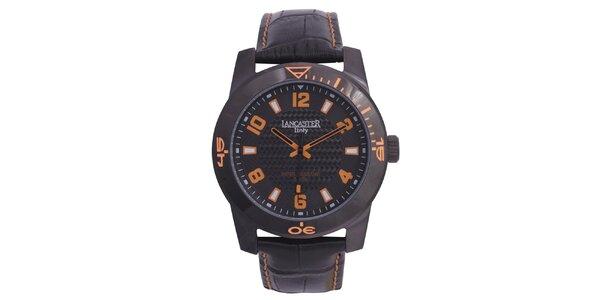 Pánské černé hodinky s oranžovými detaily Lancaster