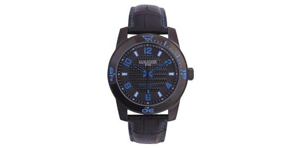Pánské černé hodinky s modrými detaily Lancaster