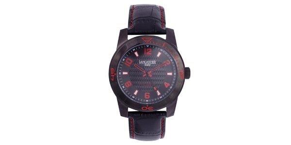 Pánské černé hodinky s červenými detaily Lancaster