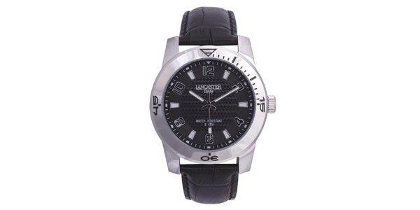 Pánské stříbrné hodinky s černým koženým řemínkem Lancaster