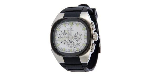 Pánské černo-stříbrné analogové hodinky Breil
