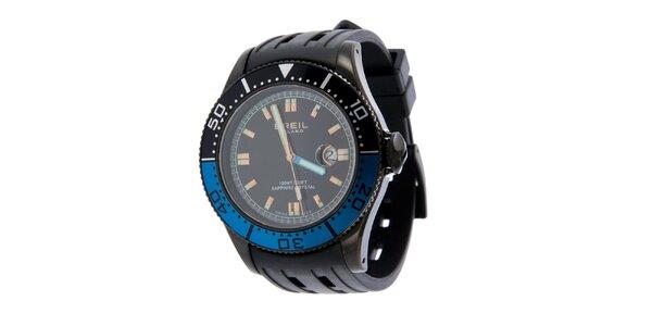 Pánské černo-modré analogové hodinky Breil