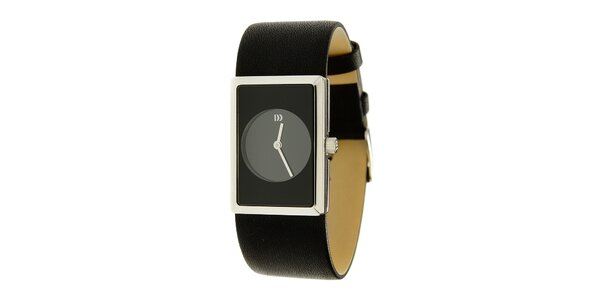 Dámské černé ocelové hodinky Danish Design s koženým řemínekm