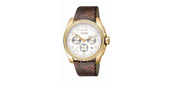 Dámské hnědo-zlaté hodinky s chronografem Esprit