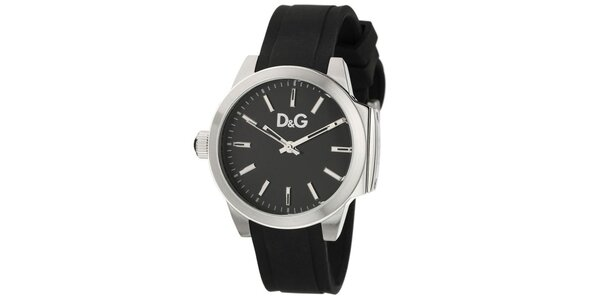 Dámské černé hodinky Dolce & Gabbana s ocelovým pouzdrem