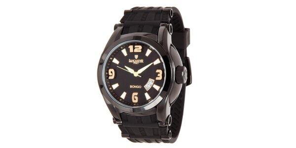 Pánské černé analogové hodinky se zlatými detaily Lancaster
