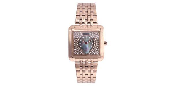 Dámské růžově pozlacené hodinky Lancaster s krystaly