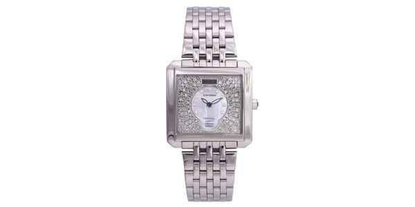 Dámské stříbrné hodinky Lancaster s krystaly a modrými ručičkami
