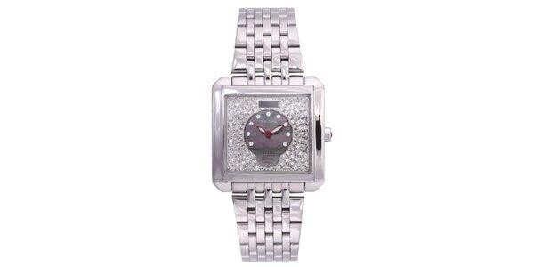 Dámské stříbrné hodinky Lancaster s krystaly a červenými ručičkami