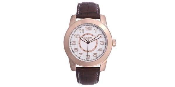 Pánské růžově tónované pozlacené hodinky Lancaster