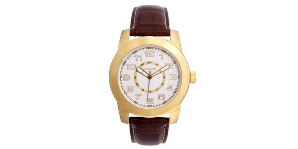 Pánské pozlacené hodinky Lancaster s bílým ciferníkem