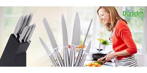 5 nerezových nožů v dřevěném stojanu