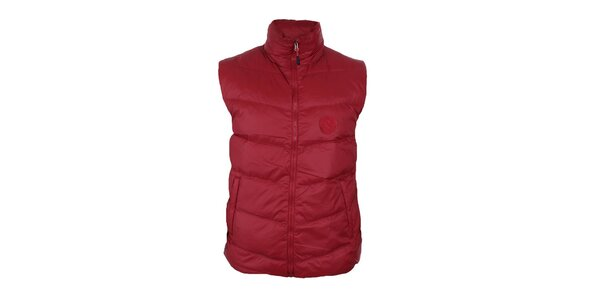 Pánská červená péřová vesta se stojáčkem Trimm