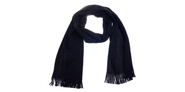 Černá vlněná šála Fraas s třásněmi 582b0a0194