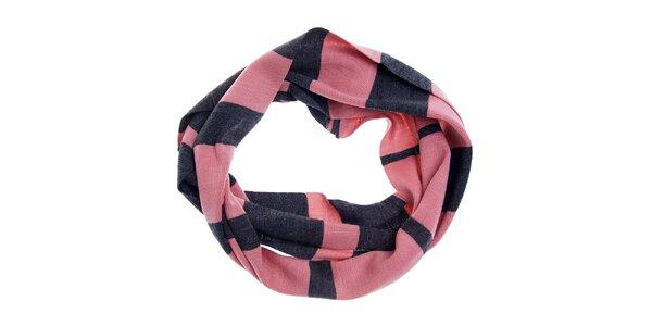 Dámská šedo-růžová kruhová šála Fraas s proužkovaným vzorem