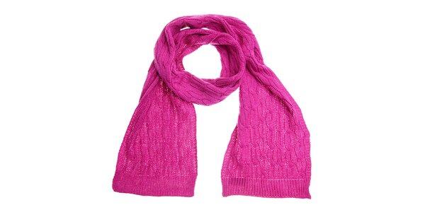 Dámská sytě růžová pletená šála Fraas