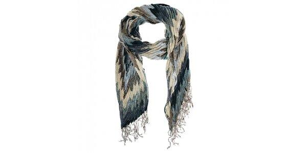 Dámský modrošedý plisovaný šál Fraas