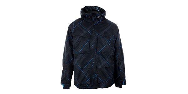 Pánská černá lyžařská bunda Authority s modrými detaily