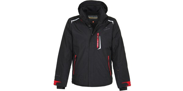 Pánská černá lyžařská bunda s červenými detaily Bergson