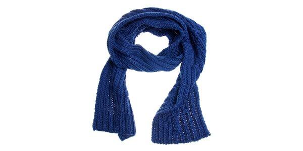 Dámská zářivě modrá pletená šála Fraas