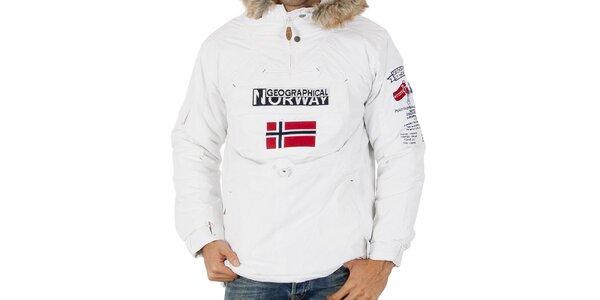 Pánská bílá bunda s nášivkami Geographical Norway