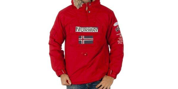 Pánská červená bunda s nášivkami Geographical Norway