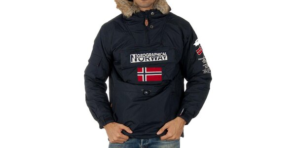 Pánská modrá bunda s nášivkami Geographical Norway
