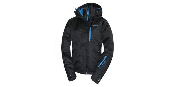 Dámská černá bunda s modrými zipy Envy