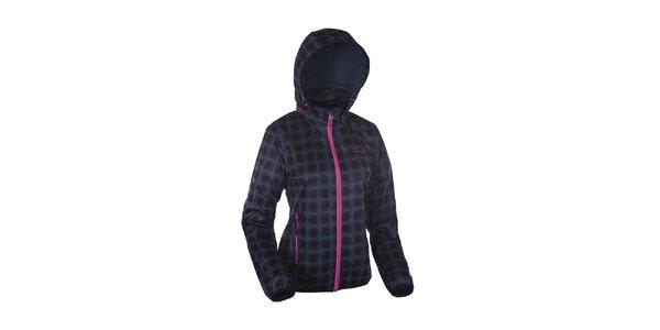 Dámská černá károvaná bunda Envy s růžovými zipy