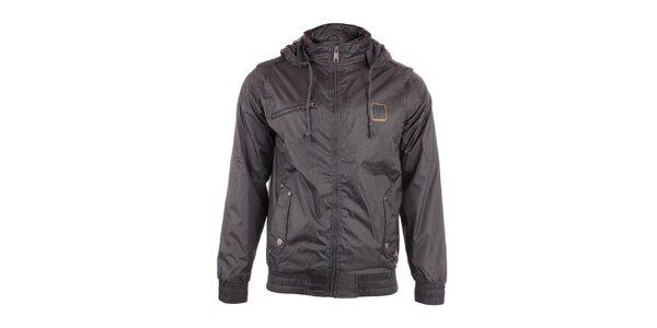 Pánská černá bunda Exe Jeans s jemným vzorkem