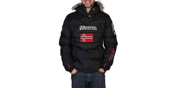 Pánská černá bunda s vlajkou Geographical Norway