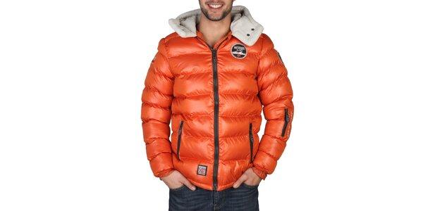 Pánská oranžová zimní bunda s kapucí Geographical Norway