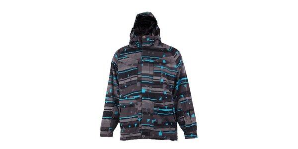 Pánská šedo-tyrkysová funkční zimní bunda Fundango s membránou