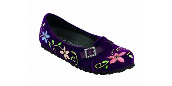 Dámské fialové sametové baleríny Papillio s květinovou výšivkou
