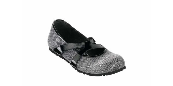 Dámské stříbrné baleríny Papillio s černými pásky
