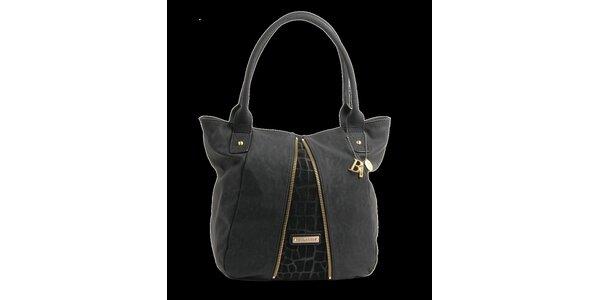Dámská černá kabelka Bulaggi s ozdobnými zipy