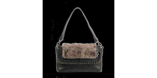 Dámská černá kabelka Bulaggi s hnědým kožíškem