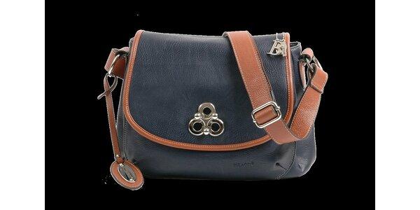 Dámská tmavě modrá kabelka Bulaggi se světle hnědými detaily