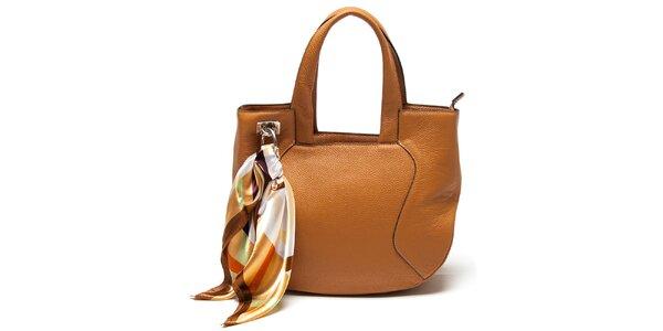 Dámská koňaková kabelka s šátkem Renata Corsi
