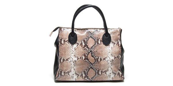 Dámská černá kabelka s hadím vzorem Renata Corsi