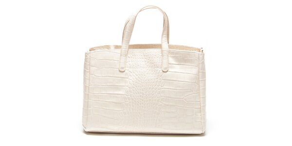 Dámská béžová kabelka se vzorem krokodýlí kůže Renata Corsi